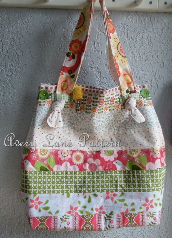 Market Tote Bag with knot straps  by Avery Lane Designs Large size PDF Pattern instant download
