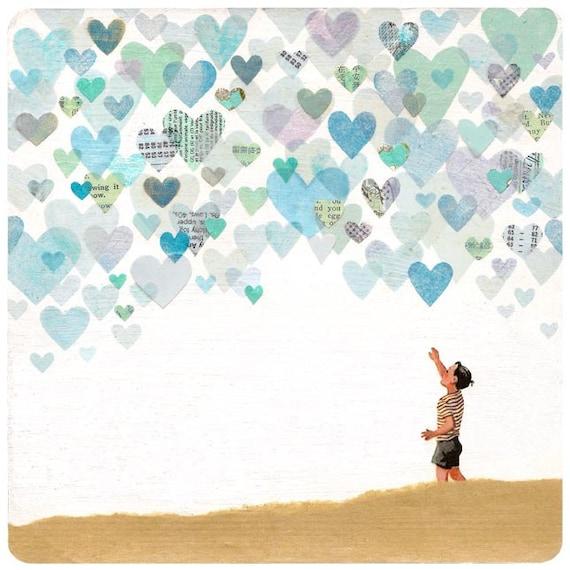 Look The Sky is Full of Love - ART PRINT - Love, Boy's Room Decor