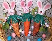 PDF/Primitive Bunny Carrots Folk Art Pattern Et