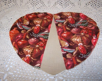 Kit Homespun Hearts Oven Mitts Set of 2 S.W. Pottery Et.