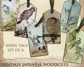 Tags - Set of 6 - Vintage Japanese Woodcuts of Birds