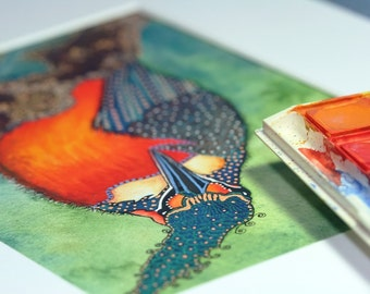 Watercolour Bird Print - Autumn Soujourn - 5 x 7 inch Unmatted Print