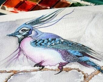 Watercolour Bird Print - Winter Solitude - Fantasy Birds -  5 x 7 inch Unmatted Print