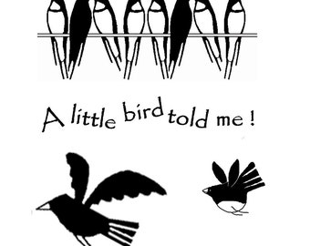 A Little Bird Told me,and birds.     Collection Deal,unmounted rubber stamps