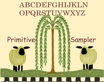 PRIMITIVE SAMPLER. 5x7 primitive,folksy Machine Embroidery Designs