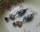 Whirlwind - Mixed Media OOAK earrings, fiber, antique brass, iolite