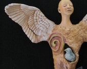Angel ceramic wall sculpture Dove Guardian (made to order)