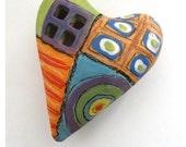 Abstract graffiti Ceramic  Heart Pillow