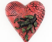 Pink Heart Ceramic Heart Wall Sculpture Art Love Grows (Medium size) Ivy leaves and branch