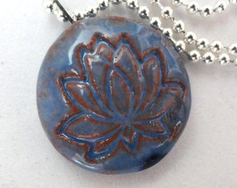 Blue Lotus Circle Ceramic Pendant Focal Bead