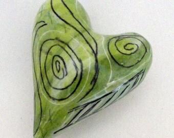 Spiral of Life Spring Love Ceramic Heart Pillow Folk Art Spirals