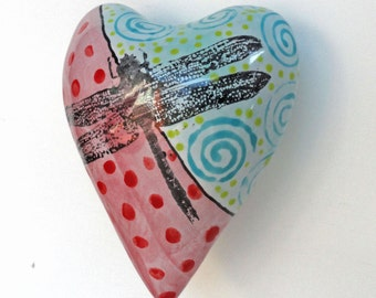 Heart Ceramic Dragonfly Heart Pillow Valentine