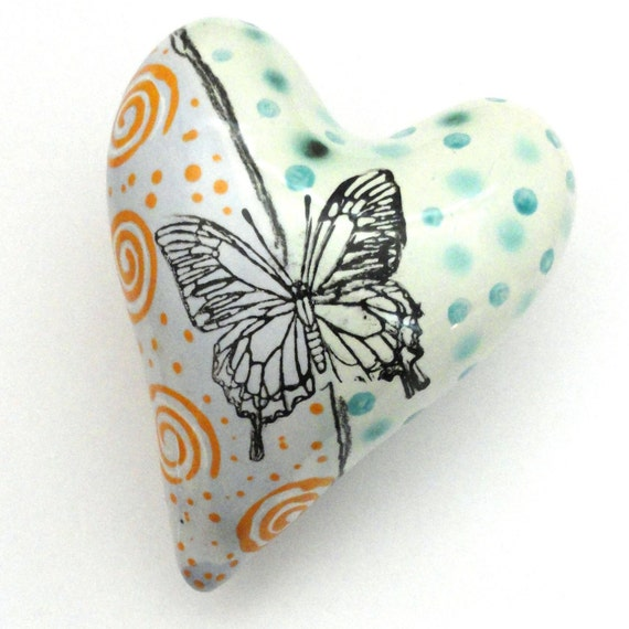 Valentine Ceramic Butterfly Heart Pillow