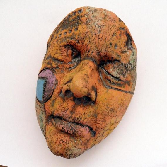 ON SALE Ceramic Wall Sculpture Mudgoddess Face  Mask