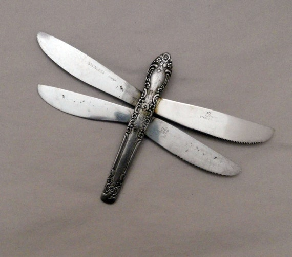 Metal DragonFly Sculpture FolkartUpcycled Flatware Wall or garden Sculpture or Ornament