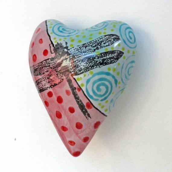 Heart Ceramic Dragonfly Heart Pillow Valentine
