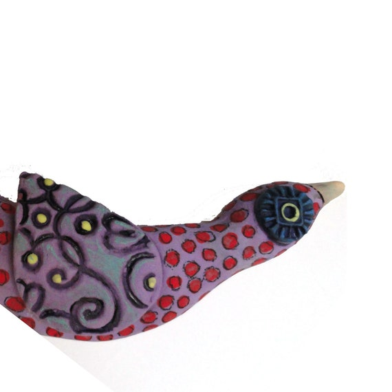 Bird of Paradise Ceramic Wall Sculpture  Purple with red Polka Dots
