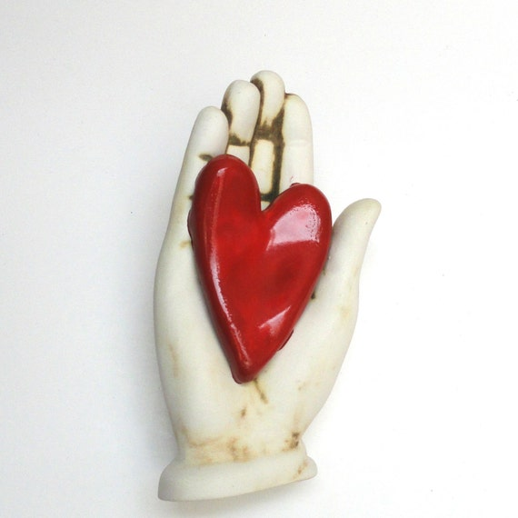 Red Heart Ceramic Wall Sculpture My Heart in you Hand