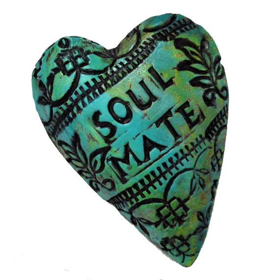 Ceramic Heart SOUL MATE Affirmation Heart