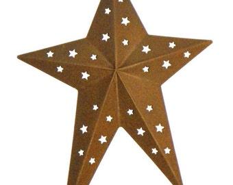 Set of 6, 8 Inch Rust Finished Metal Primitive Star with Star cutouts