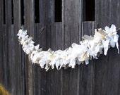 READY to SHIP Fabric Garland Wedding Decor Neutral Garland Burlap Linen Garland Rag Fabric Swag Mantle Garland French Country Christmas