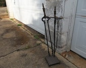 Vintage Fireplace Tools Rustic Farmhouse Decor Primitive Fireplace Tools Cast Iron Fire Poker Wood Tongs Cast Iron Stand
