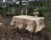 Custom Ruffled Burlap Tablecloth Handmade Ruffled Tablecloth Wedding Decorations Table Decor Custom Burlap Table Cloth Any Size Available
