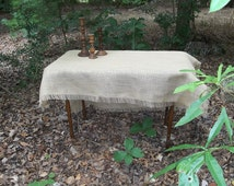 Custom Sizes Fringed Burlap Tablecloth READY to SHIP Fringed Burlap Runner Table Topper Handmade Wedding Table Setting Custom Made to Order