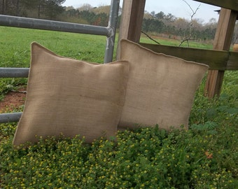 "READY to SHIP Pair Burlap Pillows 18"" Burlap Pillow Covers Decorative Pillows French Country Farmhouse  Burlap Pillow Covers Set of 2"