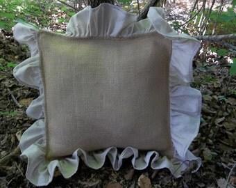 Custom Sizes Ruffled Burlap Pillow Decorative Pillow Handmade Bedroom Pillow Burlap Pillow Cover Personalized Pillow