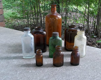 Vintage Bottles Rustic Bottle Collection French Country Farmhouse Beach House Rustic Wedding Country Primitive Bottles 9