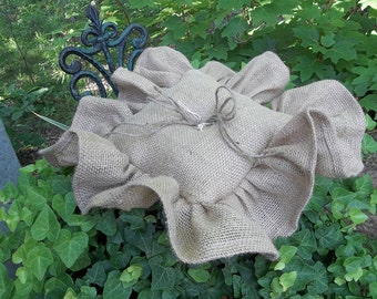 Ruffled Burlap Pillow Wedding Decor Ceremony Ring Bearer Pillow Handmade Rustic Burlap Ring Pillow Bedroom Pillow French Country Farmhouse