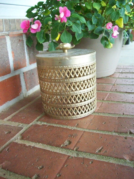 Vintage Gold Filigree Shabby Chic Bathroom Accessory Hollywood Regency Mid Century Modern Toilet Tissue Cover