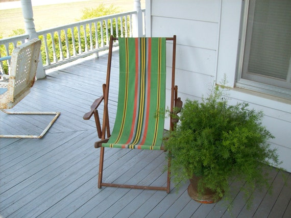 RESERVED for Christy Vintage Mid Century Modern Beach Chair Wood Canvas Treasury Item