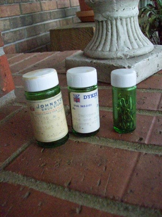 Vintage Medicine Bottles Pharmacy Collection 1950's Small Green Bottles Primitive Farmhouse French Country Rustic Vases Storage Set of 3