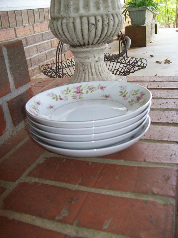Vintage Chic Shabby Bowls Dessert Plate Collection Pink Roses Dinnerware Soap DIsh Vanity Tray Anthropologie Style Farmhouse French Country