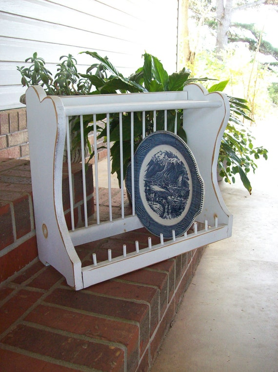 French Country Plate Rack Shabby Chic Storage Farmhouse
