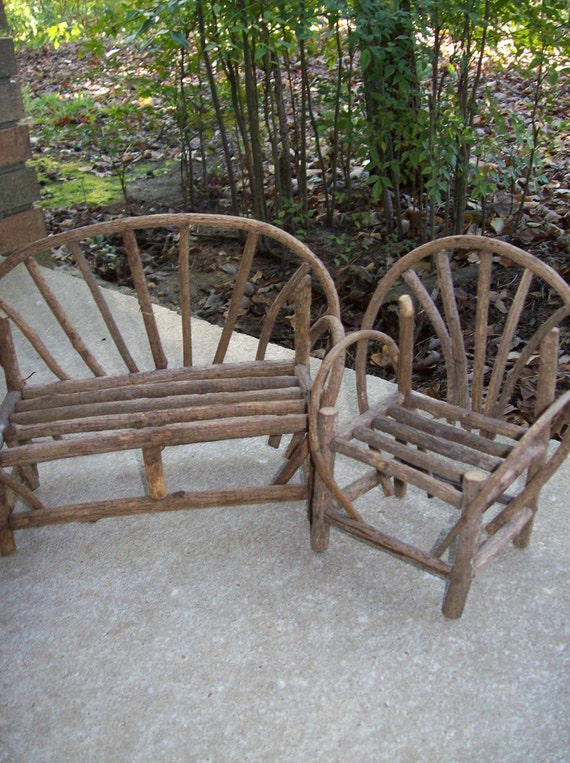 Rustic Farmhouse Furniture Primitive Vintage Chair Love Seat
