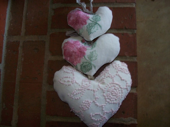 Heart Ornaments Handmade Wedding Cottage Chic Shabby Vintage Linens Christmas Decor Hearts Pink Roses Victorian  Set of 3