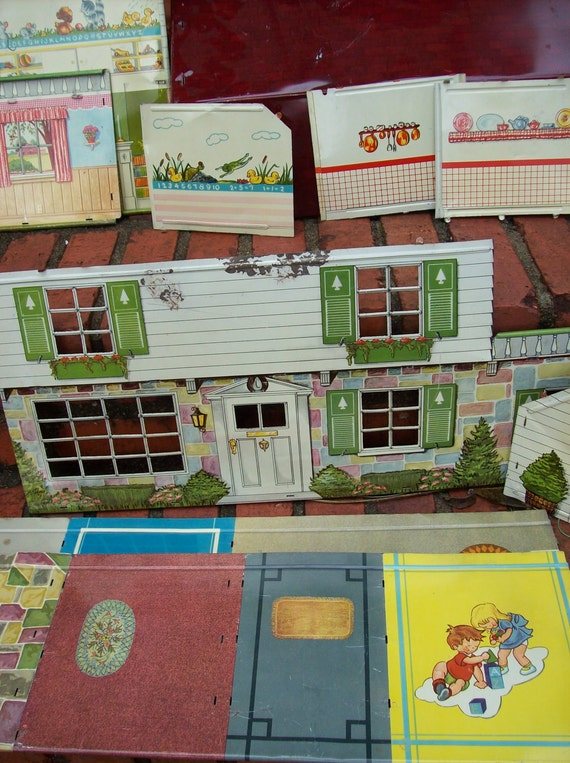 Vintage Marx Dollhouse Tin Lithograph Vintage Toy Mid Century