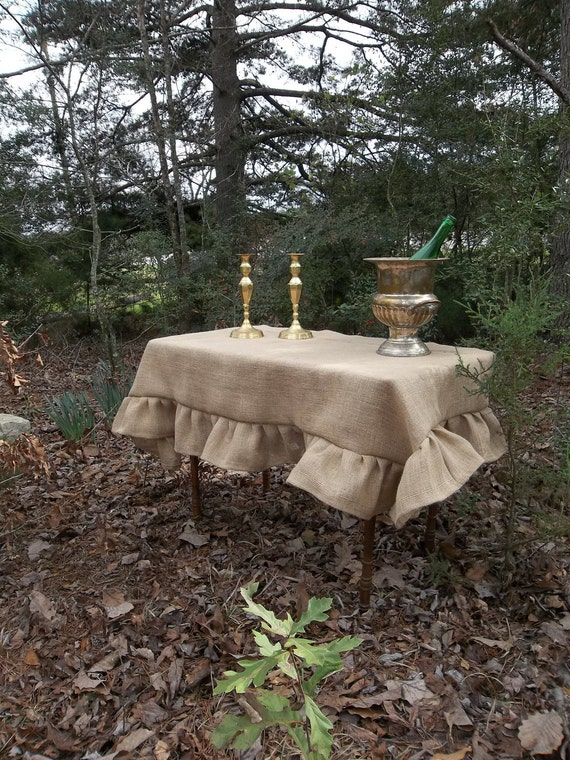 Custom Ruffled Burlap Tablecloth Handmade Ruffled Tablecloth Wedding Decorations Table Decor Custom Burlap Table Cloth