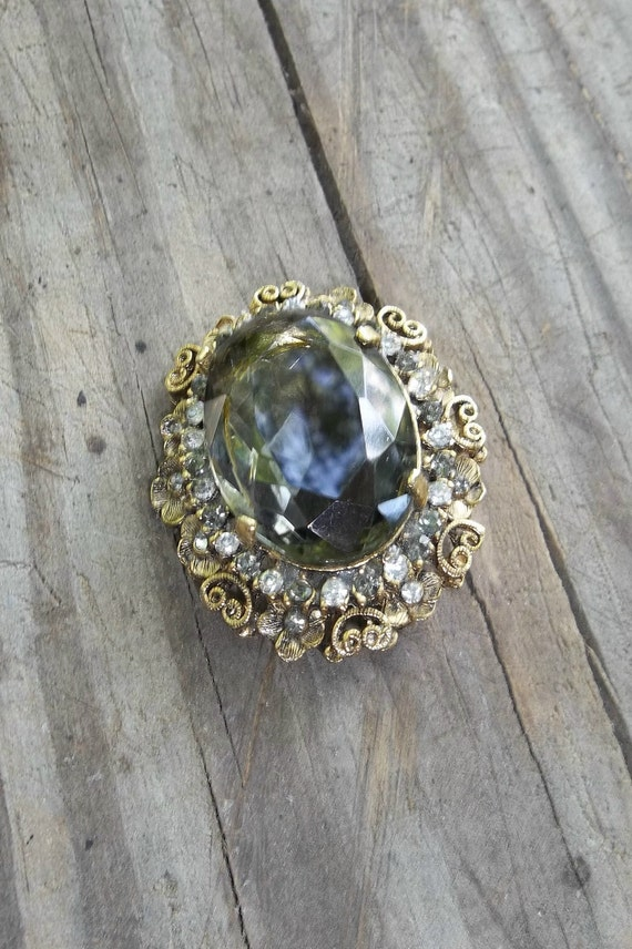 vintage jewelry topaz brooch kramer of new york by misshettie