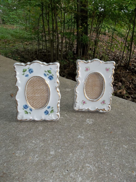 Vintage Porcelain Frames Cottage Chic Shabby Picture Frames Photos Baby Mothers Gift Mom Grandma Gift Pink Roses