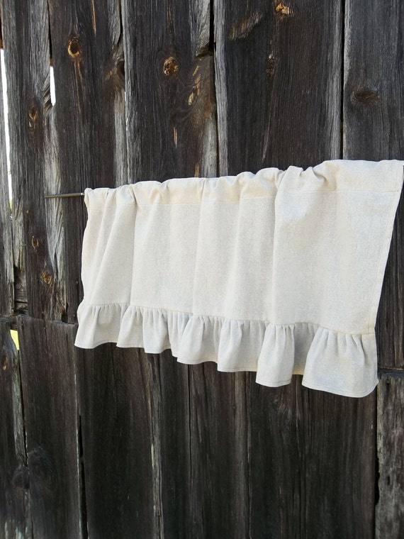 Ruffled valance linen curtain ruffled burlap curtain by for Country farmhouse window treatments