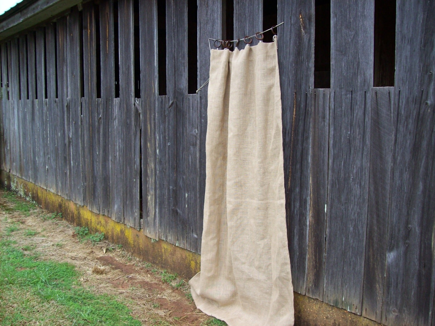 Burlap Drapes Burlap Window Treatment Ruffled Burlap by misshettie