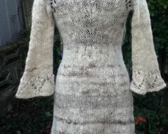 The Winter Queen. Lace Coat handknit with handspun & handprocessed alpaca.