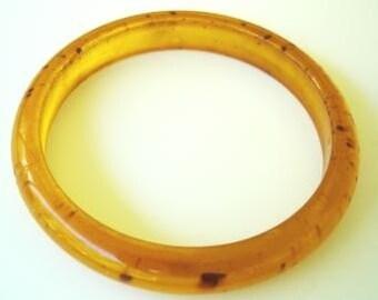 Vintage Amber Color with Brown Flecks Bangle Bracelet