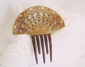 Vintage Mantilla Hair Comb, Celluloid Red & Blue Rhinestones - Diva - Pageant