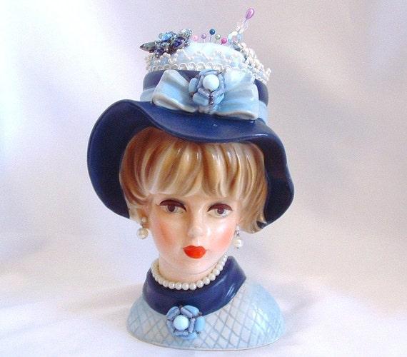 Blue Lady Head Vase Pin Cushion Jewelry Holder  Potpourri - Napcoware