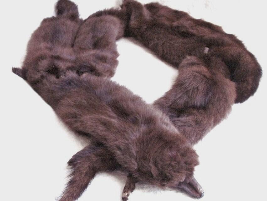 Vintage 6 mink fur stole wrap woloshin furriers monogram bb - Stoel fur ...